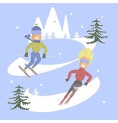 Comic concept People skiing vector