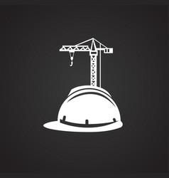 crane safety helmet on black background vector image