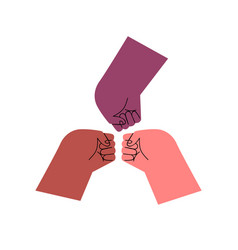 diverse people hands fist bump isolated vector image