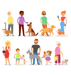Dog-breeding people with pet and woman or vector