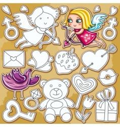doodle Valentine's day set vector image