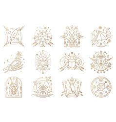 esoteric symbols outline vector image