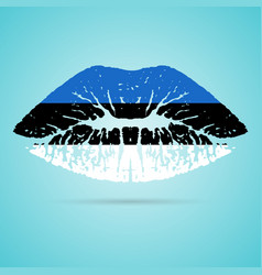 estonia flag lipstick on the lips isolated on a vector image