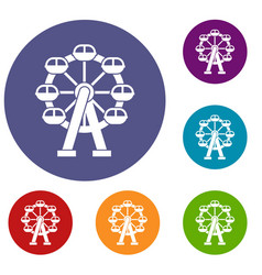 ferris wheel icons set vector image