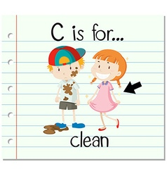 Flashcard letter c is for clean vector