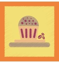 flat shading style icon coffee cake vector image
