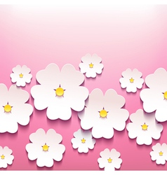 Floral greeting card with 3d flower sakura vector