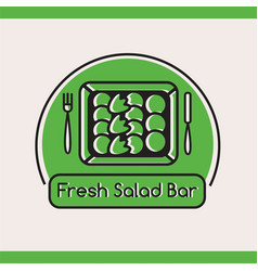 fresh salad bar logotype with salad in box vector image