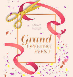 Grand opening event lettering with scissors vector