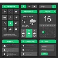 Green and gray mobile interface with login vector image