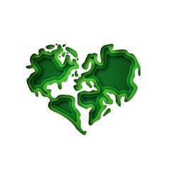 green earth map heart shape paper cut isolated vector image