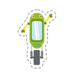 Green robot technology innovation cutting line vector