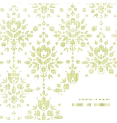 Green textile damask flower frame corner pattern vector