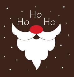 greeting card with santa beard and text ho ho ho vector image