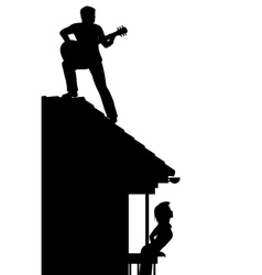 Guitarist on the roof vector