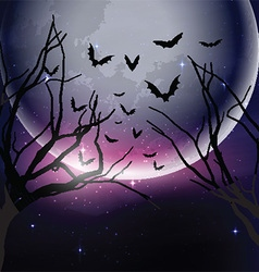 Halloween night sky background vector image