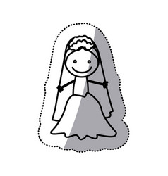 hand drawn sticker silhouette with bride vector image