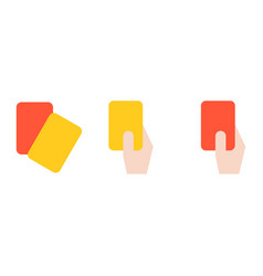 Hand of referee holding red card and yellow card vector