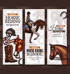 horse riding school or academy banners vector image