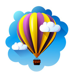 hot air balloon in clouds vector image