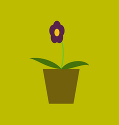 Icon in flat design flower in a pot vector