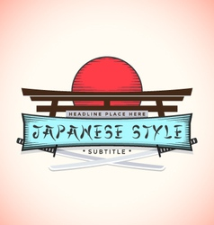 Japan style banner with catanas vector