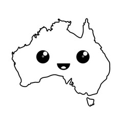 kawaii map of australia vector image