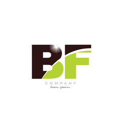 Letter bf b f alphabet combination in green and vector