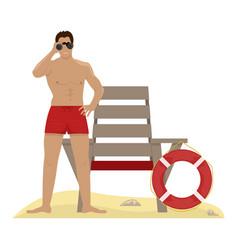 Lifeguard with binoculars lifeguard chair vector