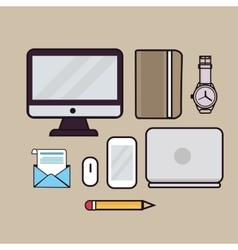 line art outline icon laptop vector image