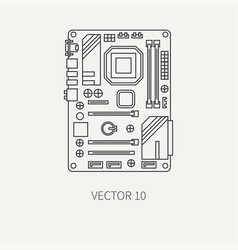 Line flat computer part icon motherboard vector