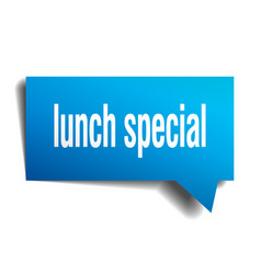 Lunch special blue 3d speech bubble vector