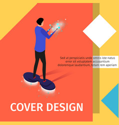 Man going on flying hoverboard energy in hands vector