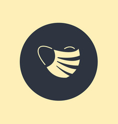 medical mask icon isolated on round background vector image