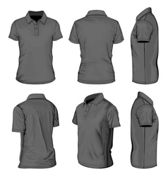 Mens black short sleeve polo-shirt vector image