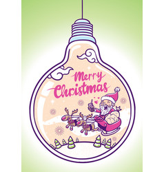 merry christmas greeting in bulb vector image