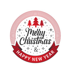 merry christmas happy new year white red vector image