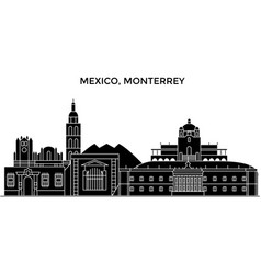 Mexico monterrey architecture urban skyline with vector