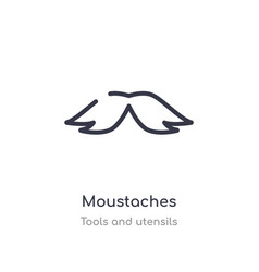 Moustaches outline icon isolated line from tools vector