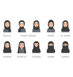 muslim women avatar set with islamic clothing name vector image