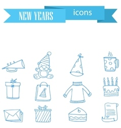 New Year icons element vector