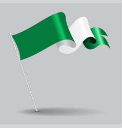 Nigerian pin wavy flag vector
