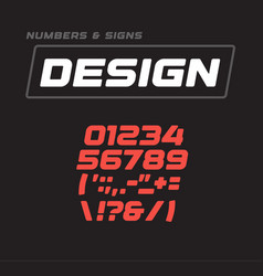 Numbers and signs collection italic bold vector