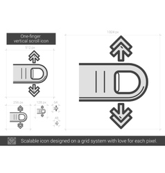 One-finger vertical scroll line icon vector