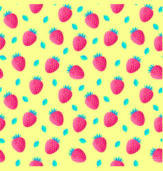 Pattern with strawberries and leaves vector