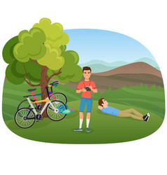 People with camera and bicycles in nature near vector