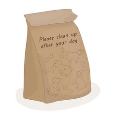 please clean up after your dog paper package for vector image