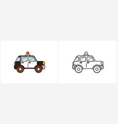 police car coloring page car side view vector image