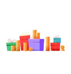 Present boxes pile gold coins stack vector