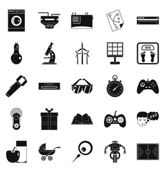 Robot icons set simple style vector